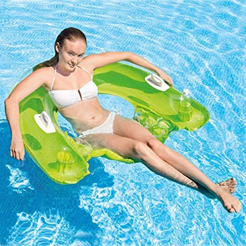 Admir Schwimmbad Strand Schwimmende Wasserhängematte Loungesessel,Aufblasbarer Tragbarer Faltpool Liegestuhl Für Erwachsene Und Kinder Grün