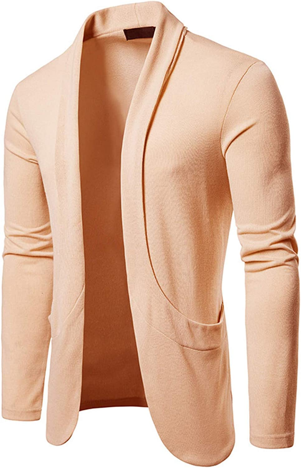 Soluo Mens Open Front Shawl Collar Cardigan Sweater Casual Long Sleeve with Ribbing Edge Cardigan Overcoat (Beige,XX-Large)