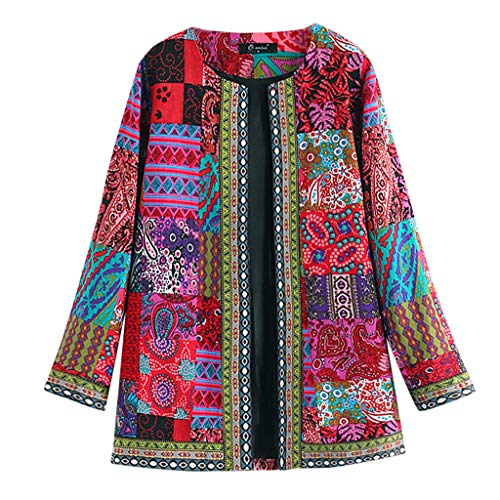 Mllkcao Winter Women's Jacket Coat Jacket Outerwear Ladies Gift for Women Vintage Ethnic Style Floral Print Long Sleeve Plus Size Cotton Jacket Coat Red