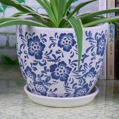 Ceramic Modern Fashion Round Flower Planter Pot with Saucer/ Tray, Elegant Blue and White Color