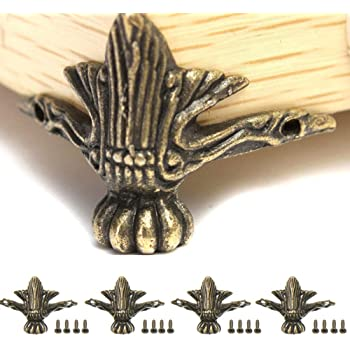 4 piezas de latón antiguo para joyas, caja de madera, patas de patas de patas para decoración de muebles, 42 x 30 mm, con tornillos: Amazon.es: Bricolaje y herramientas