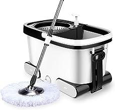 JUAN 360° Super Spin Mop Spinning Mop Bucket Metal Rotating Cleaning & 5 Mop Heads, Mop Bucket 48x28x28cm,Mop Lever87cm-12...