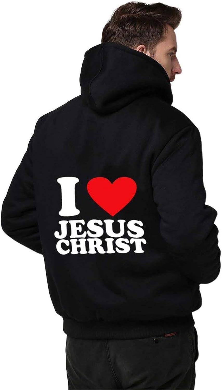 I Love Jesus Christ Men Hoodie Zipper Warmth Thickened Plus Fleece Jacket Black