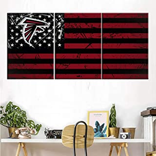 Native American Flags Painting Atlanta Falcons Art Work for Home Walls Star Stripe Pictures for Living Room 3 Piece Modern Canvas Wall Art HD Prints Framed Gallery-Wrapped Ready to Hang(42''Wx20''H)