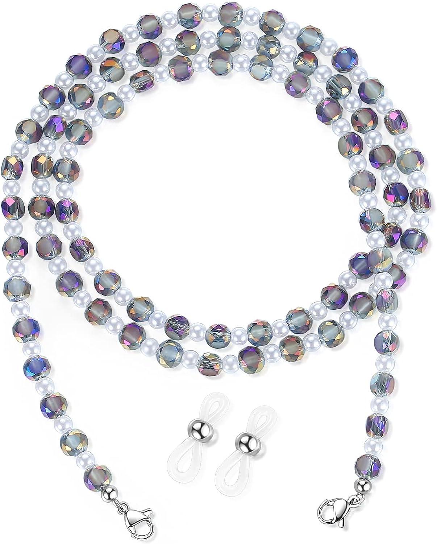REVEMCN Crystal Beaded Eyeglass Chain Face Mask Holder Chain Necklace Mask Lanyard Glasses Strap for Women Sunglasses Chains