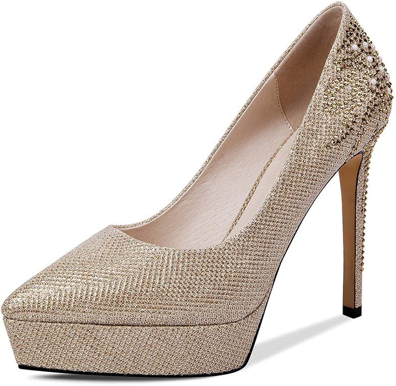 Sandalen Schuhe Schuhe Schuhe & Handtaschen Schuhe Damen Frauen High Heels Federschuhe Spitze Damenschuhe Sexy Flache Stiletto Schuhe Strass Super High Heel Plateauschuhe (Farbe   Gold, Größe   39)  464d09