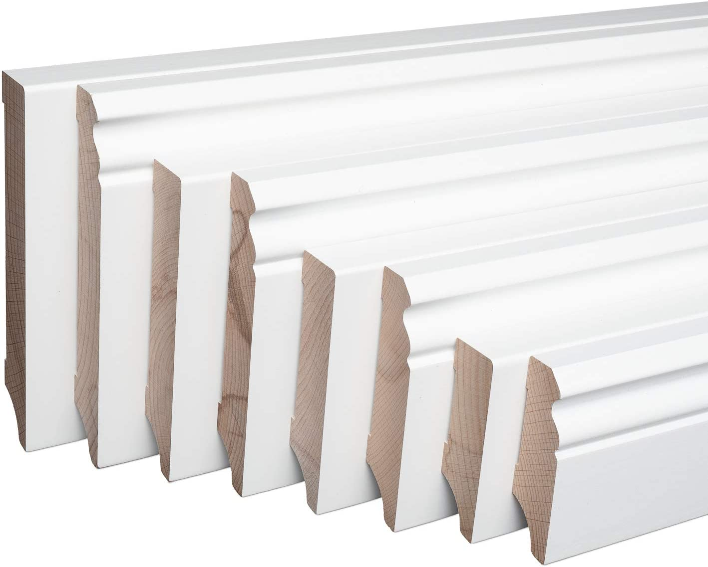Sockelleiste Massiv Holz Buche wei/ß lackiert Weimarer Profil Modern 80mm