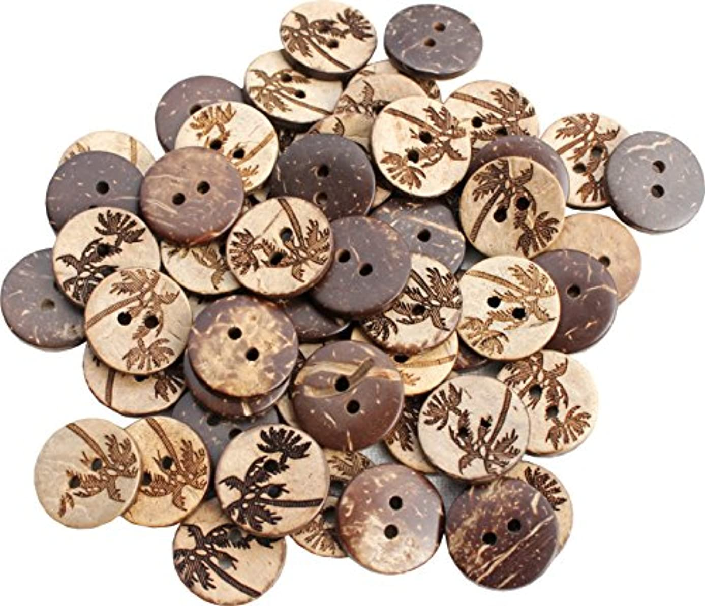 Full Funk Coconut Wood Polished Buttons with Engraved Palmtree Art 1.7cm - 55pcs