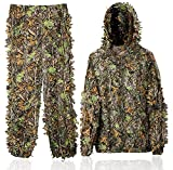 Favuit Ghillie Suit 3D Leafy Lightweight Breathable Outdoor Woodland Hunting Camouflage Clothing Camo Outfit for Jungle Hunting, Military, Wildlife Photography, Halloween (Medium)