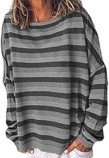 GUOCAI Womens Fashion Loose Fit Stripe Color Block Sweatshirt Long Sleeve T-shirt