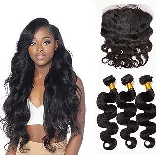 Brazilian Body Wave Virgin Hair Weave 3 Bundles Human Hair Extensions Natural Color Hair Weft Mixed Length 300g/lot (12 14 16 +10 Frontal)