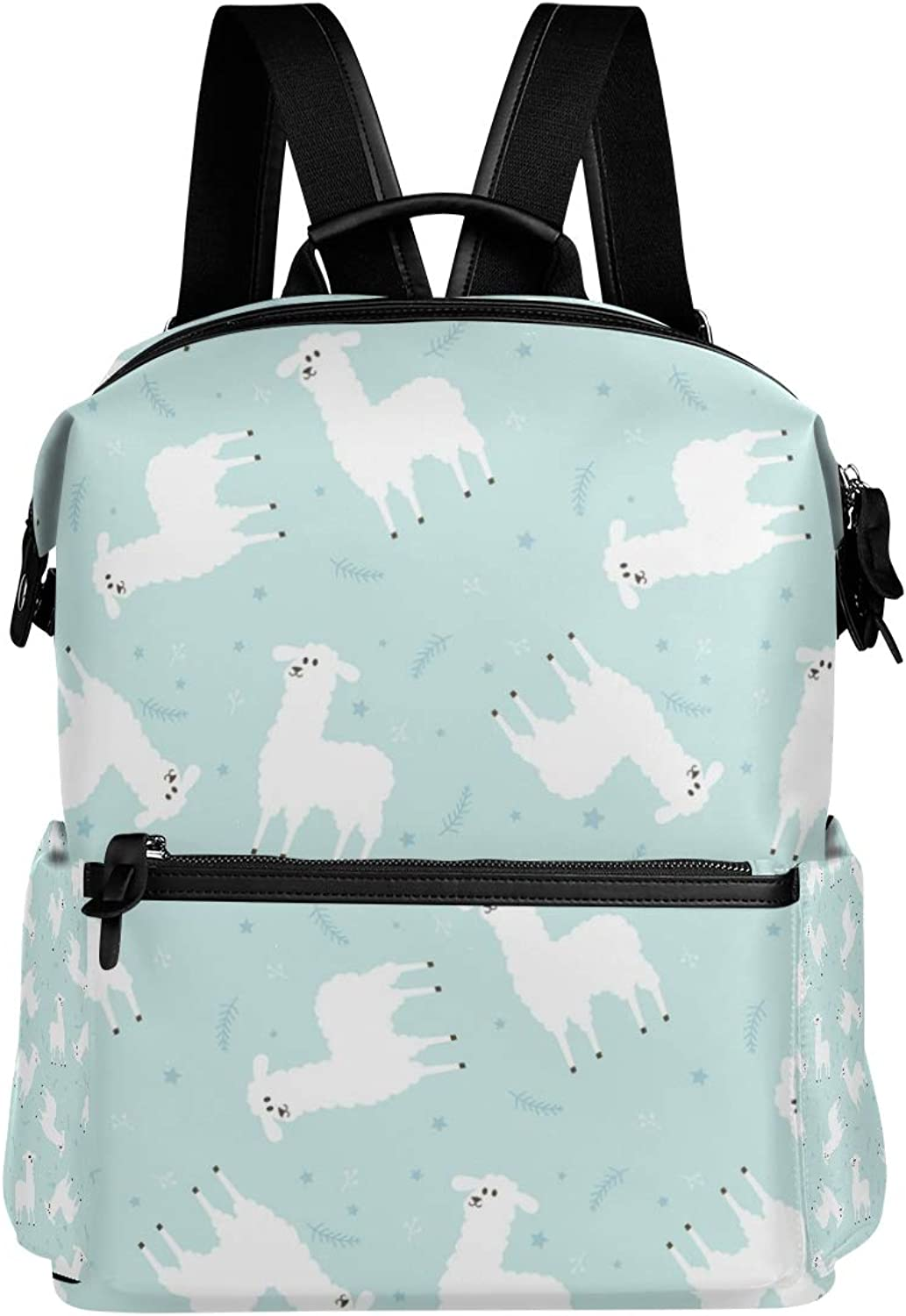MONTOJ Cute Sheep Aqua Background Leather Travel Bag Campus Backpack