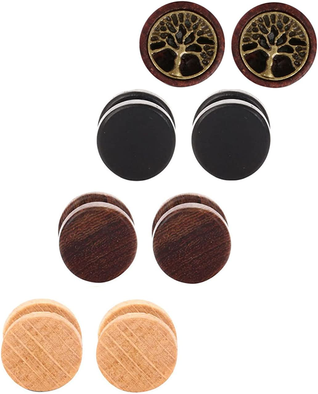 Tanyoyo Wood Cheater Fake Ear Plugs E Screw Special price for Popularity a limited time Gauges Illusion Stud