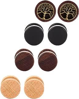 Tanyoyo Wood Cheater Fake Ear Plugs Gauges Illusion Screw Stud Earrings 3-6 pair a set