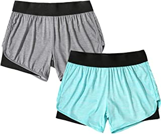 Women's Running Yoga Short Pants Workout Athletic Jogging Dolphin Shorts 2-in-1
