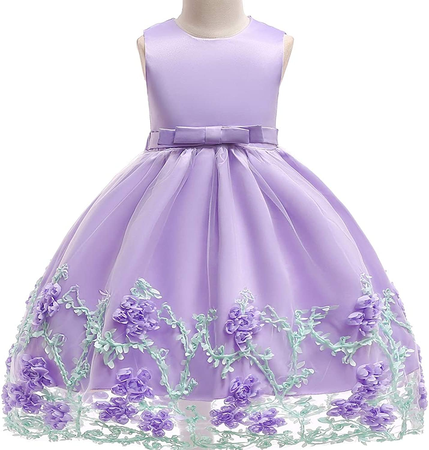 Girls Kids Dress Ball Wedding Princess Embroidered Tulle Bow Sleeveless Dress Bridesmaid Prom Pageant Dresses Birthday Christmas Party Dresses for Age 413Years Kids