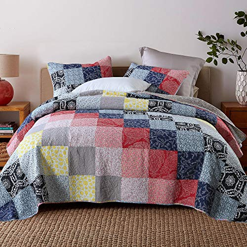 Qucover Tagesdecke Patchwork 220 x 240 cm aus Baumwolle, Bettüberwurf 220x240cm für Doppelbett, Gesteppte Decke Set mit 2 Kissen, Baumwolldecke im Vintage