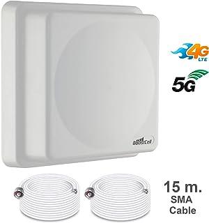 BOOSTCELL Antena 4G/5G LTE MIMO Direccional 700/800/900/1500/1800/2100/2600 + 2 TRAMOS Cable DE 15 Metros. Indicada para Zonas de Mala Cobertura.