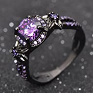 Victoria Jewelry Vintage Round Purple Amethyst Wedding Band Ring 10KT Black Gold Filled Size 5-11...