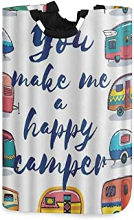 COFEIYISI Grand Organiser Paniers pour Vêtements Stockage,Carte Tu Me Rends Heureux Camper,Pliable Sac à Linge,Pliage Gran...
