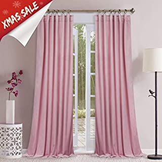 StangH Pink Velvet Curtains for Girls Room - Luxury Soft Plush Velvet Drapes Room Darkening Privacy Protect Panels with Rod Pocket & Back Tab for Baby Bedroom, W52 x L84-inch Each Piece, 2 Panels