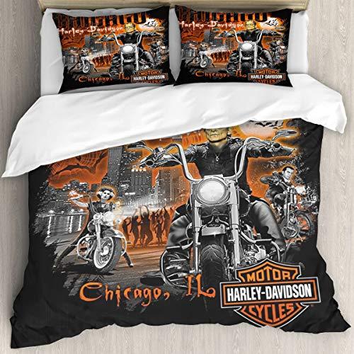 Juego de funda de edredón de 3 piezas Harley Davidson para niños y niñas, ropa de cama de microfibra con 2 fundas de almohada