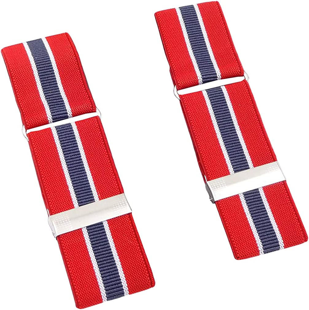 SupSuspen Mens 2PCS Striped Shirt Garters Sleeve Holders Armbands 1.4 Inch Width