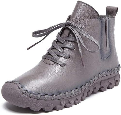 Gaslinyuan Bottines à Lacets pour Femmes Chaussures Plates en Cuir à la Cheville et à Talons Bas (Couleuré   gris, Taille   EU 39)
