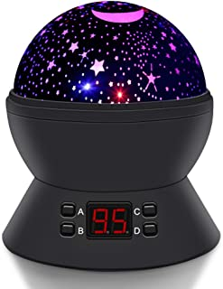 SCOPOW Constellation Night Light Star Sky with LED Timer Auto-Shut Off, 360 Degree Rotation Colorful Moon Night Lamp Gift for Baby Kid Children Bedroom Nursery Decor (Black)