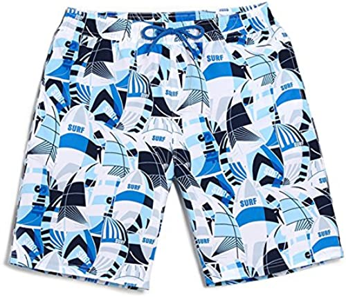 HAIYOUVK été plage Pants Hommes's Quick-Drying grand Taille Loose Leisure Holiday courtes Sailing bleu Print