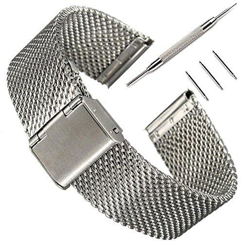 PINHEN 16mm Edelstahlarmband für Uhr - 16mm/18mm/20mm/22mm/24mm/26mm Metall Uhrenarmbänder Ersatzband Armband mit Schnellverschluss Geeignet für Herren Damen Armbanduhr (16mm Mesh Silver)