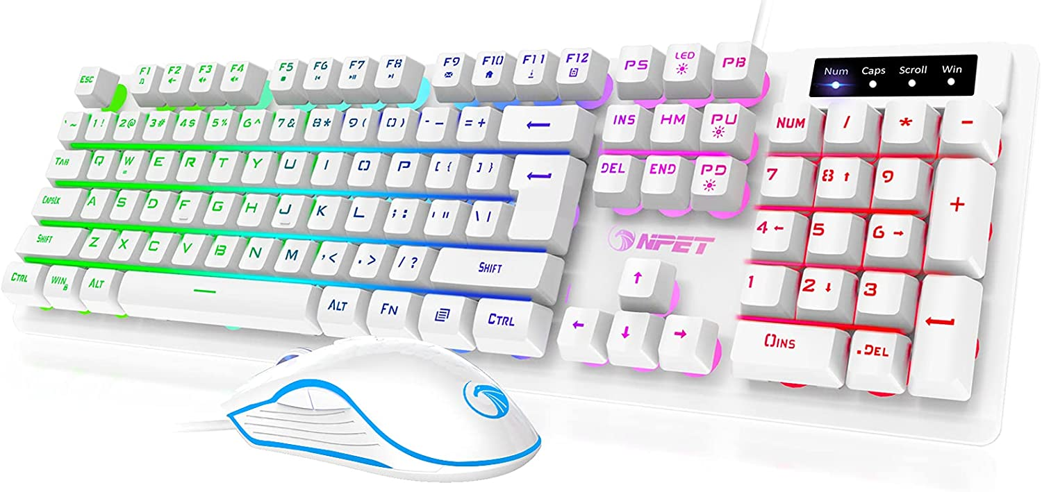 NPET S20 Wired Gaming Keyboard Mouse Combo, LED Backlit Quiet Ergonomic Mechanical Feeling Keyboard, Backlit Gaming Mouse 3200 DPI, for Desktop, Computer, PC, White