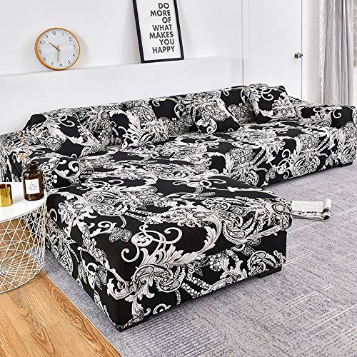 WXQY Funda de sofá con patrón de Rayas, Funda de sofá de algodón, Funda de sofá elástica para Sala de Estar, sofá Chaise Longue en Forma de L A13 1 Plaza