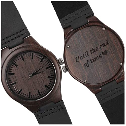 Custom Engraved Wooden Watches for Men Lightweight Black Leather Strap Watch Personalized Gifts for Son Father