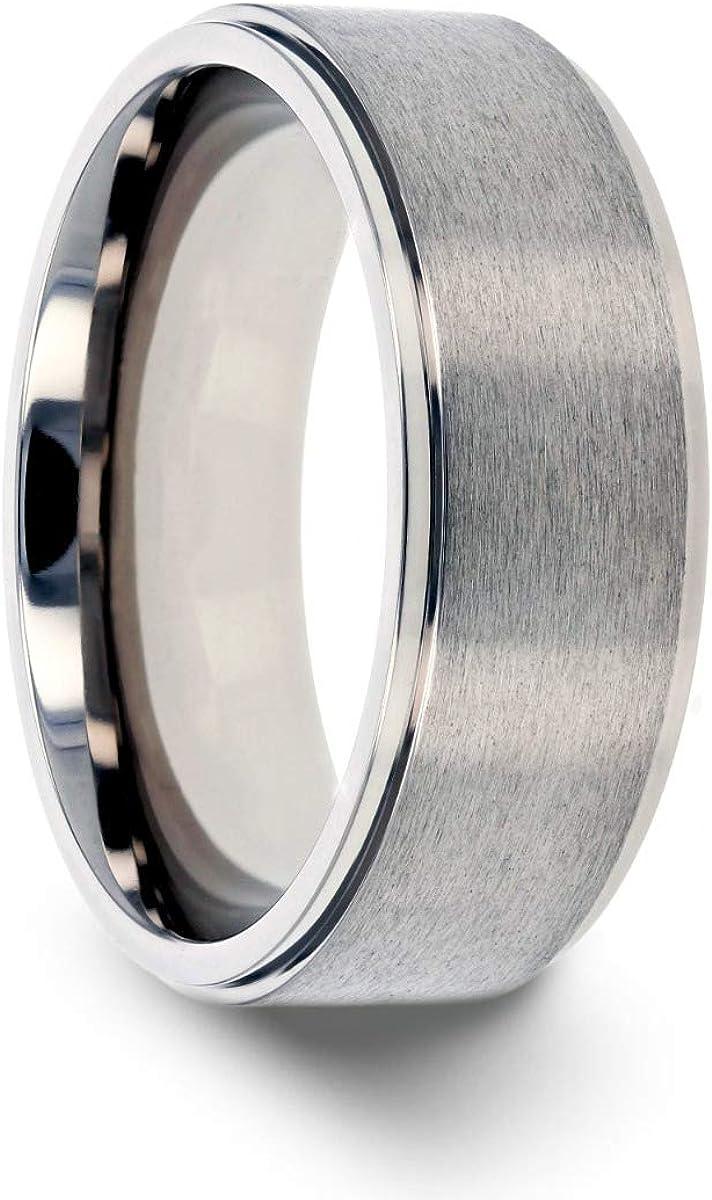 Thorsten Rhinox | Titanium Rings for Men | Lightweight Titanium | Comfort Fit | Custom Engraving | Brushed Raised Center Titanium Wedding Ring with Polished Step Edges - 8 mm