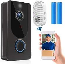 WiFi Video Doorbell Camera, Wireless Doorbell Camera with Chime, Motion Detection Smart Doorbell Support Cloud Storage, Re...