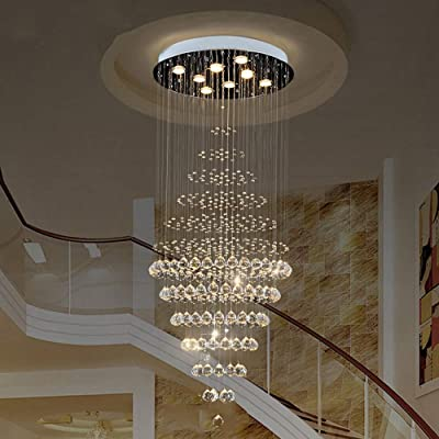 MQW Ronda Simple Creativa Lámpara De Cristal Moderna Escalera De Comer Lámpara De Techo De La