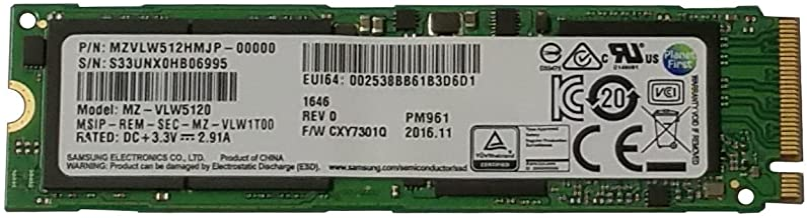 Samsung 1TB PM961 Single Sided 80mm (2280/2280SS) M.2 PCI Express 3.0 x4 (PCIe Gen3 x4) OEM NVMe SSD - MZVLW1T0HMLH