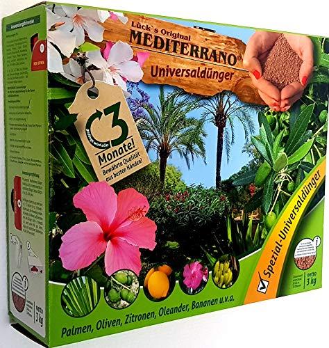 Lück´s Orginal Mediterrano-Palmen-Dünger 3Kg Schüttpackung Universal-Spezial-Blumen-Dünger Tropische mediterrane Palmen-Bananen-Oliven-Bäume-Zitronen-Baum-Hanf-Palmen-Zitrus-Pflanzen-Garten-Dünger