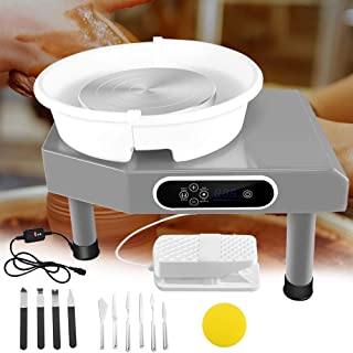 New Updated LCD Pottery Wheel Machine with Removable Basin 11 Clay Tool and Foot Pedal for Ceramic Work Clay Art Craft, 350W