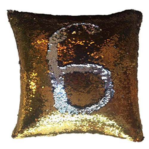 "Elogoog Sofa Pillow Case Colorful Vogue Double Color Reversible Sequins Mermaid Glitter 16"" x 16"" Cushion Cover (16 x 16 Inches, Gold)"
