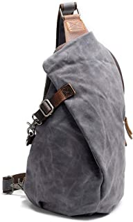 Mens Bag Waterproof Canvas Shoulder Sling Backpacks for Hiking Biking Travel Outdoor Chest Bag High capacity