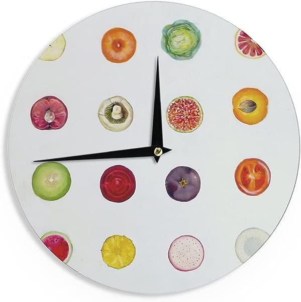 Kess InHouse Theresa Giolzetti Fruit Multicolor Food Wall Clock 12 Inch