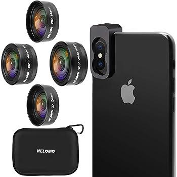 NELOMO スマホカメラ用4イン1レンズキット。適合機種:iphone XR X 8 7, Samsung Galzxy S9 S8, Huawei P20 P10 など。20倍マクロレンズ、2倍ズーム望遠レンズ、138度広角レンズ、190度魚眼レンズ。