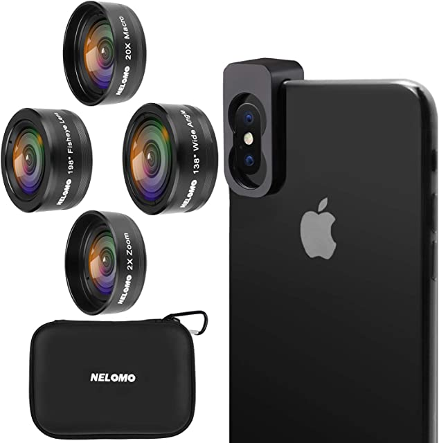 NELOMO Kit de Lentes para Smartphone HD - Kit de Lentes para iPhone X / 8 / 7plus / 7 Samsung (4 IN 1)