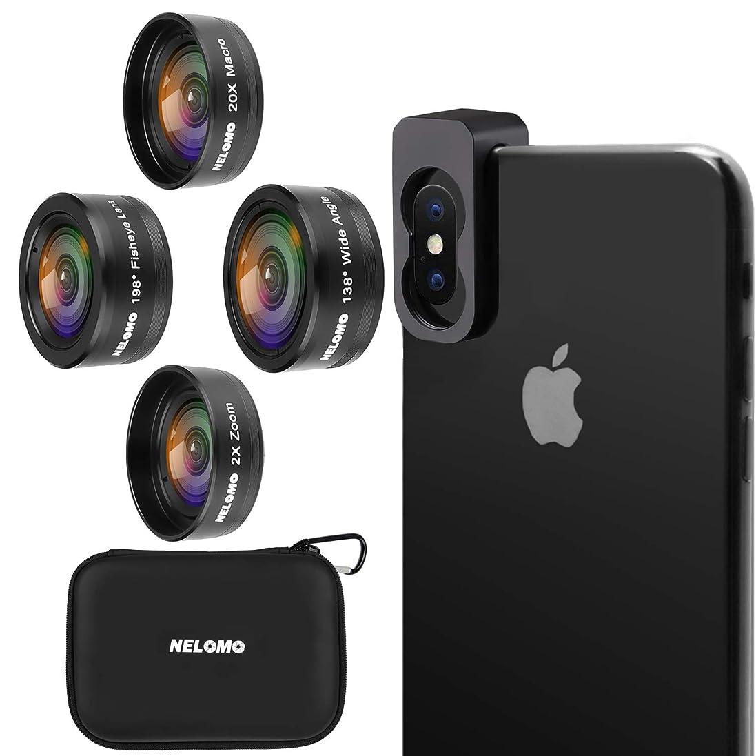ヘビ差オーナメントNELOMO スマホカメラ用4イン1レンズキット。適合機種:iphone XR X 8 7, Samsung Galzxy S9 S8, Huawei P20 P10 など。20倍マクロレンズ、2倍ズーム望遠レンズ、138度広角レンズ、190度魚眼レンズ。