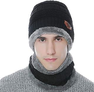Winter Beanie Hat Scarf Set Warm Knit Hat Skull Cap Neck Warmer for Men Women