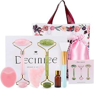 Deciniee Jade Roller, Jade Face Roller met Gua Sha 6-delige set Rozenkwarts Gua Sha Stone Facial Roller Massage Tools voor...