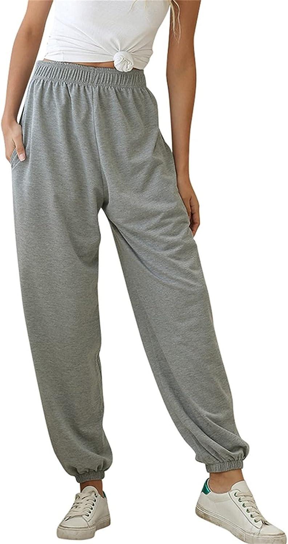 JPVDPA Women's Cotton Linen Pants Casual Loose Drawstring Long Pants Solid Elastic Waist Pockets Trousers