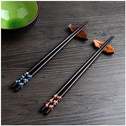 Palillos, 5 par palillos de alta calidad restaurante chino japonés palillos Set de Alta Calidad, Diseño de Antideslizante (Tres puntos)